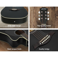 "Alpha 41"" Inch Electric Acoustic Guitar Wooden Classical Full Size Eq Bass Black"