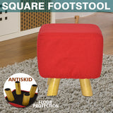 Luxury Chic Wooden Footstool Ottoman Red