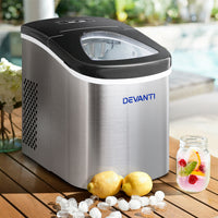Devanti 2.4L Stainless Steel Portable Ice Cube Maker