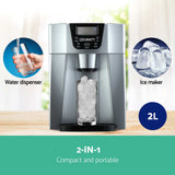 Devanti 2L Portable Ice Cuber Maker & Water Dispenser - Silver