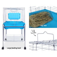 I.Pet Rabbit Cage Hutch Cages Indoor Hamster Enclosure Carrier Bunny Blue