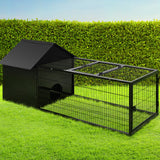 I.Pet Large Metal Rabbit Hutch - Black