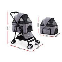 I.Pet Pet Stroller Dog Carrier Foldable Pram 3 In 1 Middle Size Grey