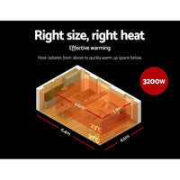 Devanti 3200W Electric Heater Panel - Black