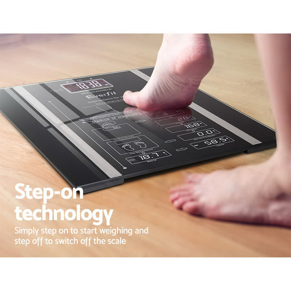 Everfit Electronic Digital Body Fat Scale - Black Tempered Safety Glass