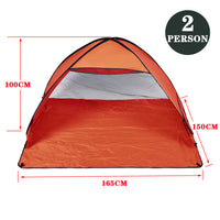Pop Up Portable Beach Tent Sun Shade Shelter Orange