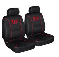 Universal 60/25 Airbag Front Seat Cover Nobody Rides For Free - Red