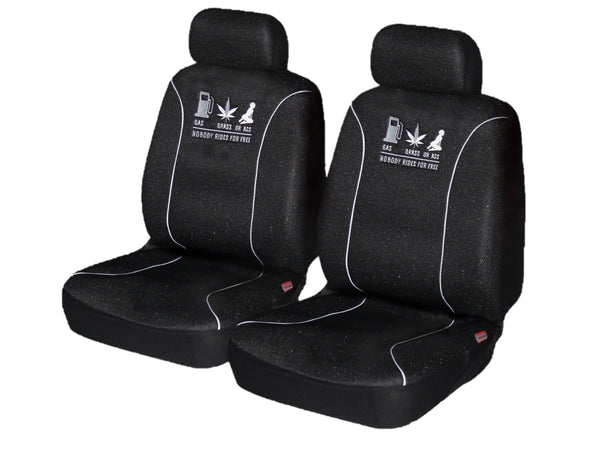 Universal 60/25 Airbag Front Seat Cover Nobody Rides For Free - White