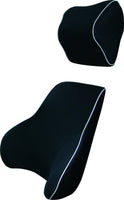 Black Memory Foam Lumbar Back & Neck Pillow Support Back Cushion Office Car Seat