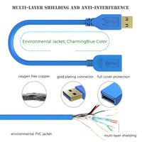 Simplcom Ca312 1.2M 4Ft Usb 3.0 Superspeed Extension Cable Insulation Protected Gold Plated