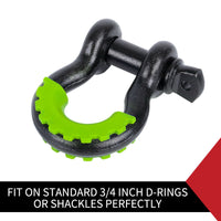 Pair Bow Shackle D-Ring 5T W/Shackle Isolator 3/4 Inch Shackle Protector Cover