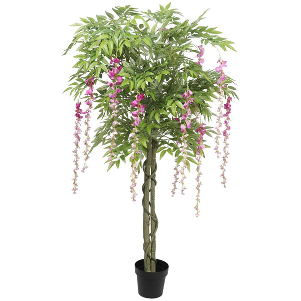 Pink Flowering Artificial Wisteria 180Cm - Indoor Usage - Lifelike Leaves