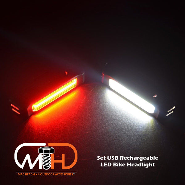Set Usb Rechargeable Led Bike Front Light Headlight Lamp Bar Rear Tail Wide Beam