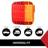 Pair Led Tail Light With Number Plate Light 28Led Trailer Truck Caravan Square 12V