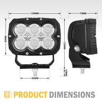 5Inch Cree Led Work Light Square Flood Beam Industrial Grade Offroad Tractor