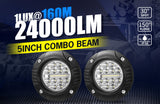 2X 5Inch Cree Flush Mount Led Work Light Bar Combo Reverse Round Fog Lamp 4Wd