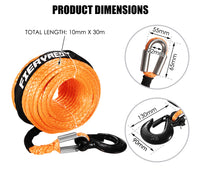 Winch Rope 10Mm X 30M Synthetic Dyneema Sk75 Hook Car Tow Recovery Cable