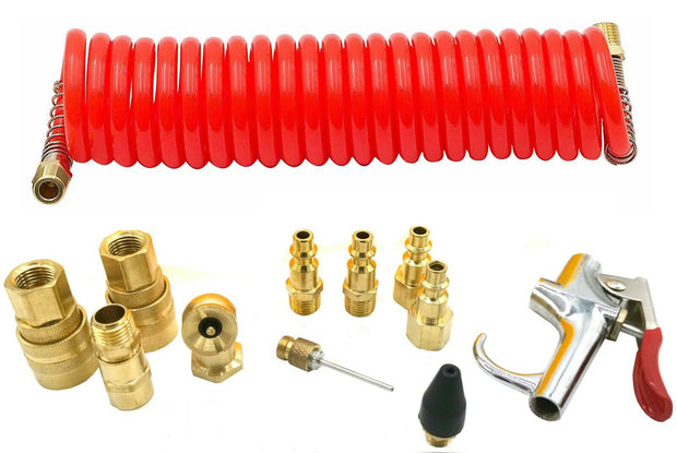 12PCS Air Compressor Accessory Pneumatic Tool Set Kit Hose Gun Tire Gauge