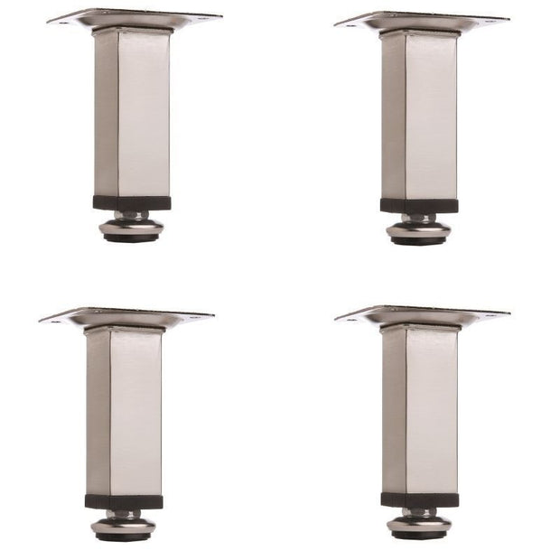 4-Pack 4'' Adjustable Square Brushed Nickel Furniture Leg