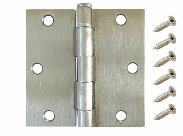 "3.5"" Satin Nickel Interior Door Hinges with Square Corner Hinge [Value Pack]"