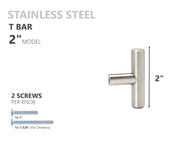 SOLID Stainless Steel Kitchen Cabinet Handles T Bar Pull Hardware
