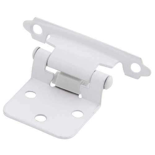 Pack of 25 Pairs (50pcs) Self Closing Overlay Flush White Cabinet Hinges