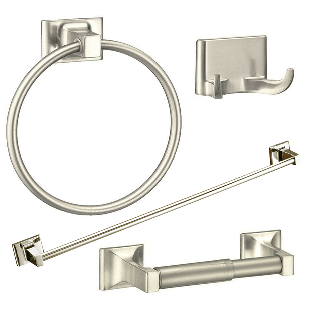 4 Piece Towel Bar Set Bath Accessories Bathroom Hardware - Brushed Nickel