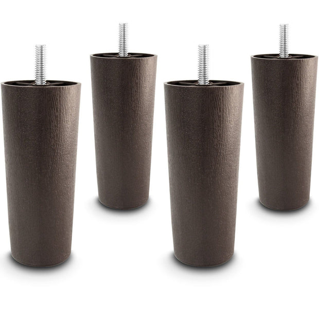"4-Pack 5"" Universal Dark Brown Plastic Furniture Legs"