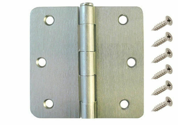 "3.5"" Satin Nickel Interior Door Hinges with 1/4"" Radius Hinge [Value Pack]"