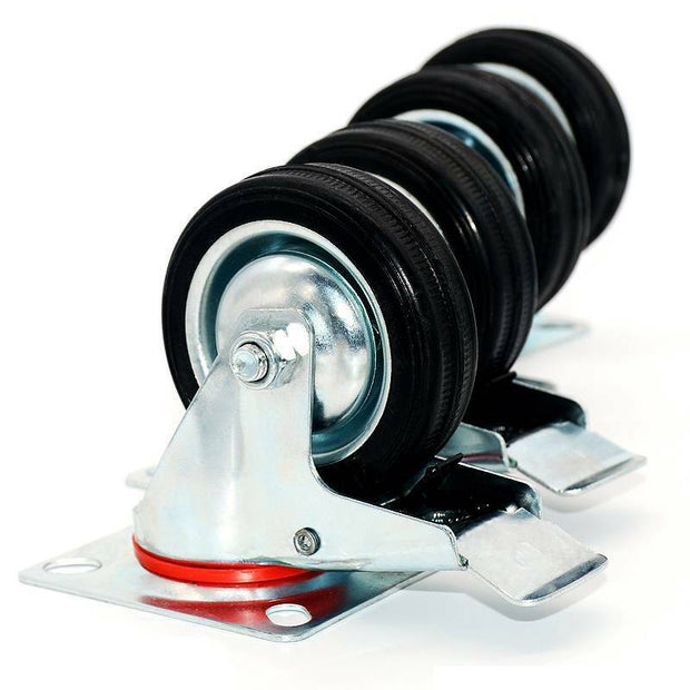 "3"" Swivel Caster Wheels Rubber Base with Top Plate"