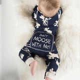 Moose Deer Long Sleeve Romper Perfect for Christmas