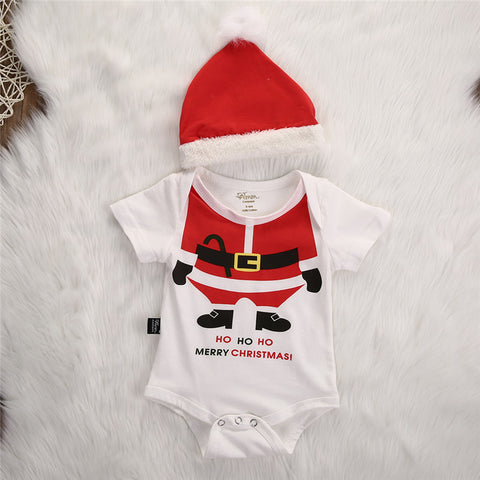 HO HO HO Christmas Rompers Santa Claus jumpsuit and Hat