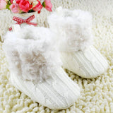 Knitted Baby Boots with Fur and Rubber Outsole