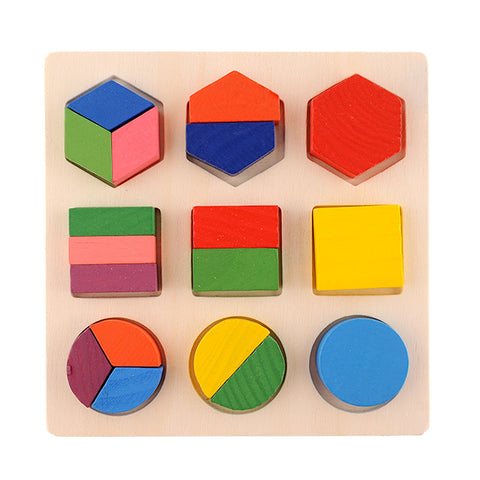 Wooden Preschool Shape Puzzle Geometric Chunky Puzzles Early Development Educational Block