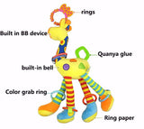 Giraffe Handbells Rattles Developmental Baby Toy with Teether