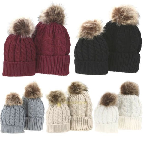 'Mom & Me' Faux Fur Pompom Beanie Hats 2pcs [Newborn-12M]