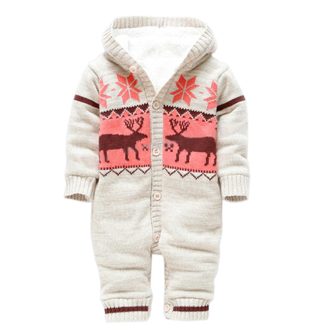 Thick Winter Baby Rompers with Knitted Deer Hood For Christmas