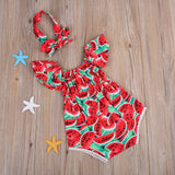 Watermelon Pattern Romper With Headband