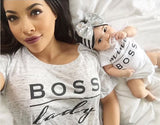 "Cute Unisex Baby ""Mini Boss"" Print Romper Bodysuit"