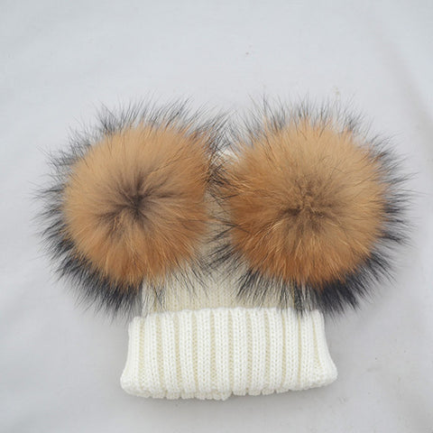 Double Fur Pompoms Hat
