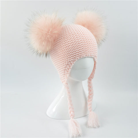 Kids Crochet Earflap Double Fur Pompom Hat [5 Colors]