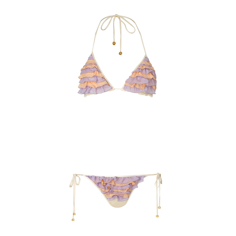Square silk triangle bikini peach/lilac