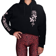Load image into Gallery viewer, HeartbeatInk Pink Rose Cropped Hoodie