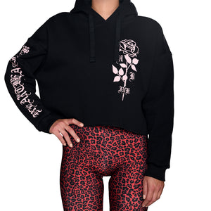 HeartbeatInk Pink Rose Cropped Hoodie