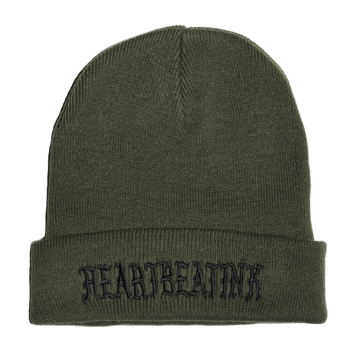 HeartbeatInk Khaki Embroidered Beanie