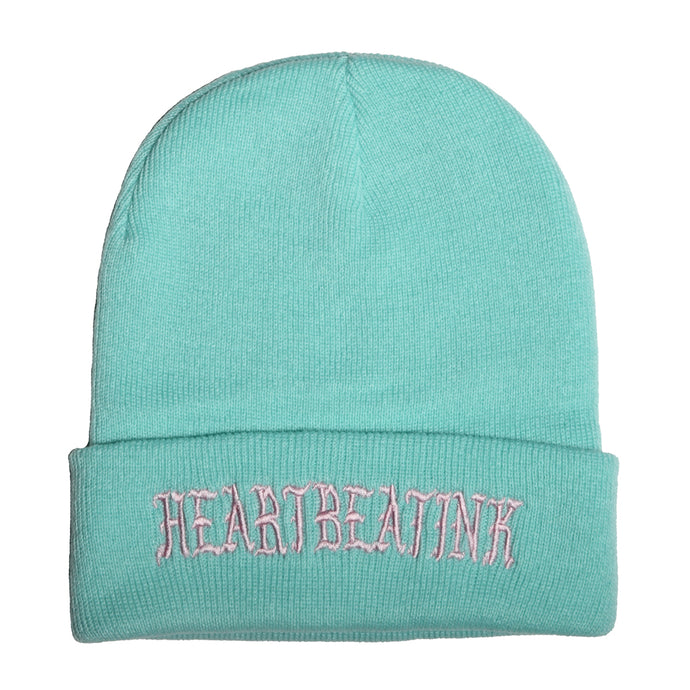 HeartbeatInk Mint Embroidered Beanie