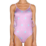 Psychedelic Pink Lace Up Side Swimsuit