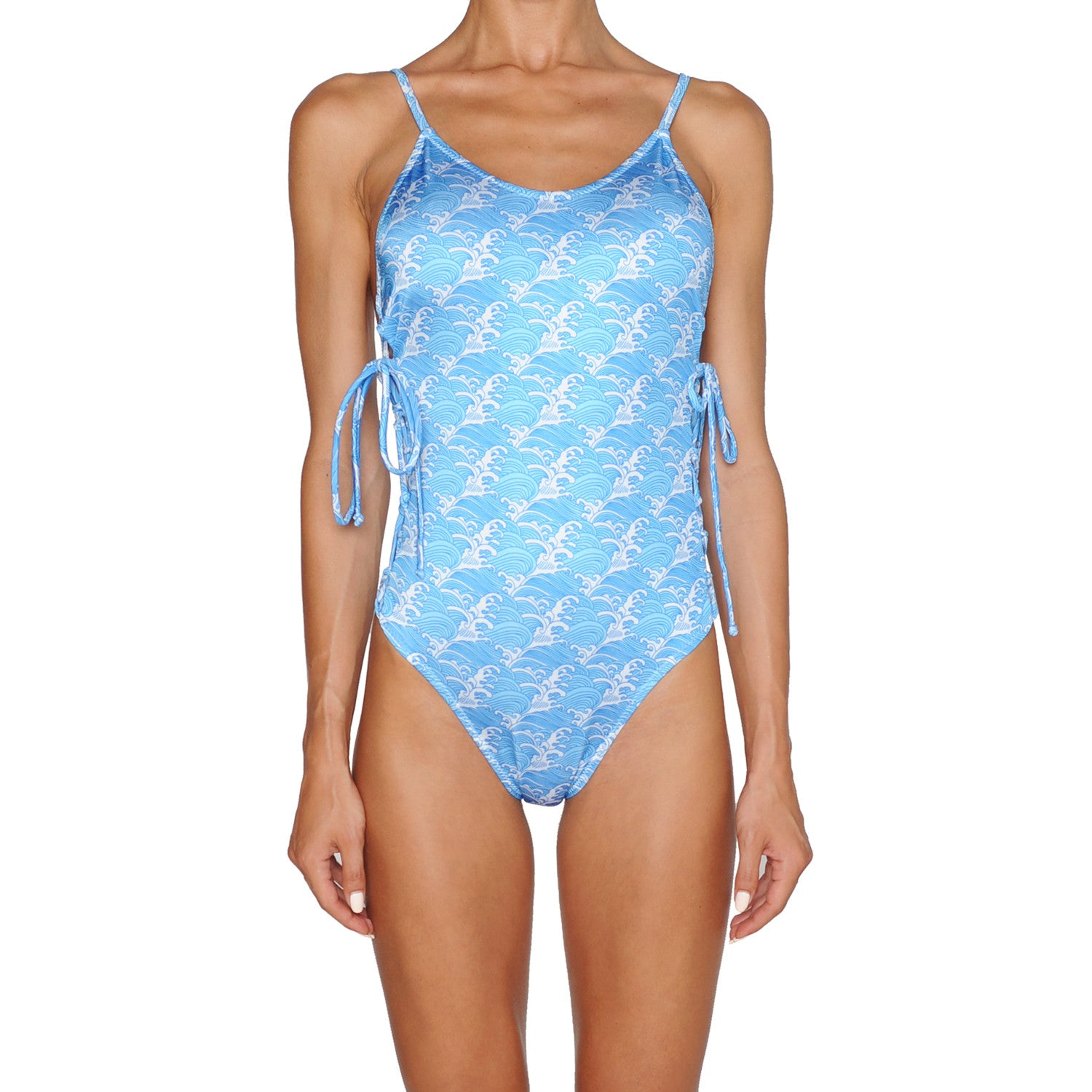 Waves Lace Up Side Swimsuit