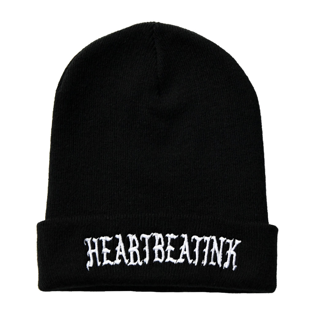 HeartbeatInk Black Embroidered Beanie