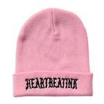 HeartbeatInk Pink Embroidered Beanie